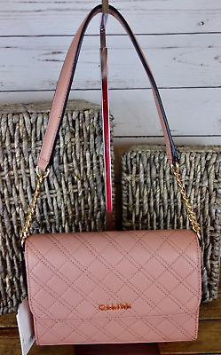 f4f34a3ade5 Calvin Klein $178 NWT Quilted Pebble Leather Shoulder Bag Deep Blush Gold  Chain