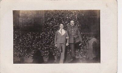 Old Photo Postcard Military Soldiers Uniform Church Graves Humour E3