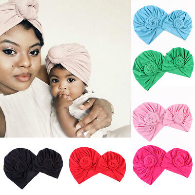 2PCS Mom Mother Baby Kids Cotton Hat Knot Turban Cap Girls Boys Beanie Baggy Cap