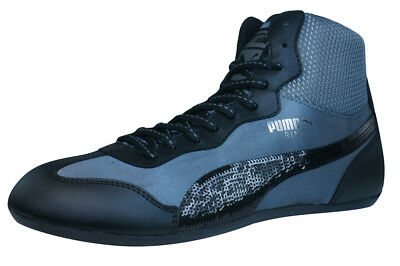 Puma Ring Sequins Womens Trainers Boxing Style High Top Shoes - Black