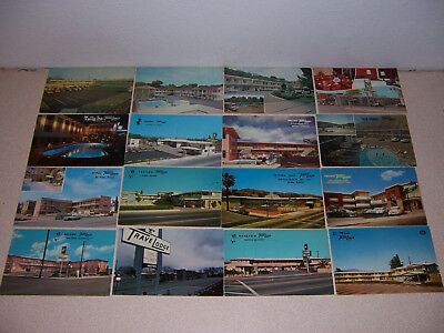 1960s-70s TRAVELODGE MOTEL POSTCARD LOT of 16 DIFF
