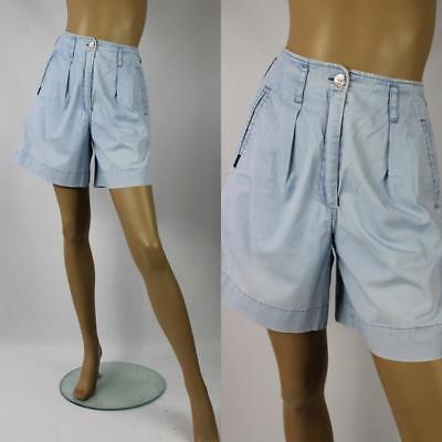 1980s Vintage Genesis Light Denim High Waisted Shorts Size 8/10