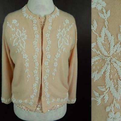 1950s Vintage B Altman & Co Bead & Sequin Top and Cardigan Twinset Size S-M