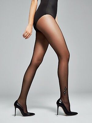 65c42e600 Fiore Grace Silver Metallic Ankle Patterned Sheer to Waist Tights 20 Denier