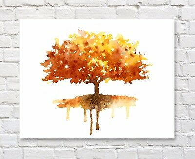 "Maple Tree Watercolor 11/"" x 14/"" Art Print by Artist DJR"
