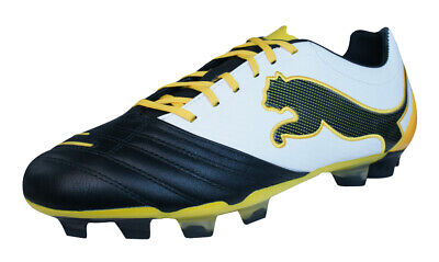 Puma PowerCat 2.12 FG Mens Leather Football Boots - Black White - RRP £79.95