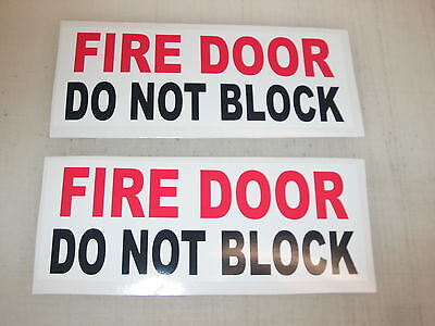 5 FIRE DOOR DO NOT BLOCK Sticker Decals Inspection Hose Extinguisher Alarm Smoke