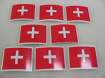 8 SWISS FLAG Sticker Decal LOT 4 boat car Window Truck suv Wholesale SWIZERLAND