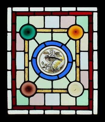 Beautiful Victorian Painted Bird English Stained Glass Window Coloured Rondels