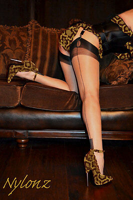 Eleganti Fully Fashioned Stockings - NAT / BLK CONTRAST - Small - SPECIAL OFFER!