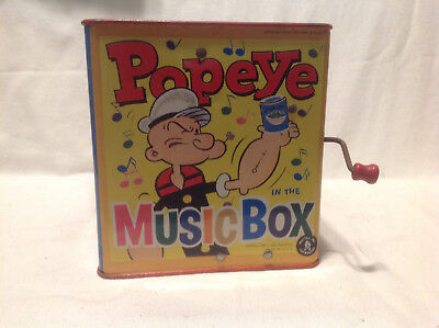 "1951 Popeye The Sailor Man Jack In The Box ""music In The Box"" Vintage,works"