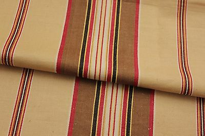 Antique French ticking fabric  striped material ~  HEAVY weight