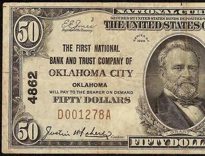 1929 $50 Dollar Bill First National Bank & Tc Oklahoma Note Currency Paper Money