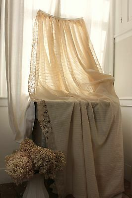 Antique French Swiss dot dotted Swiss curtain aged 19th century w/ lace drape