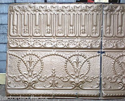 Antique Victorian Gothic Ceiling Tin Tile Gold Pie Cupboard Cabinet Doors Chic