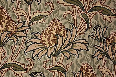 Antique French Art Nouveau  linen cotton curtain c1880  block printed GORGEOUS