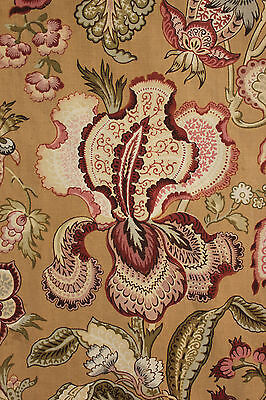 Antique French CURTAIN drape LARGE 19th century textile blockprinted woodblock