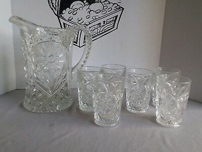 """Antique Imperial Glass Crystal Field Flower Pitcher Clear 9"""" Tall with 6 Glasses"""