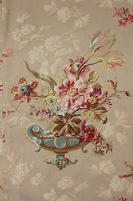 Antique French curtain panel bed hanging ~ STUNNING Rare floral printed drape