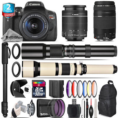 Canon EOS Rebel T6i + 18-55mm IS STM + 75-300mm III + 9PC Filter - 32GB Kit
