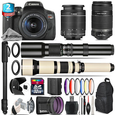 Canon EOS Rebel T6i + 18-55mm IS STM + 55-250mm IS + 9PC Filter - 32GB Kit
