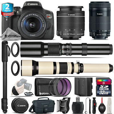 Canon EOS Rebel T6i + 18-55mm IS STM + 55-250mm IS STM + 500-1300mm - 32GB Kit