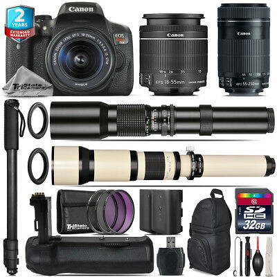 Canon EOS Rebel T6i + 18-55mm IS STM + 55-250mm IS STM + Battery Grip - 32GB Kit