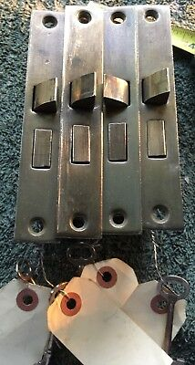 (4) Antique Vtg Mortise Locks w Skeleton Keys + Master Key All Work Good