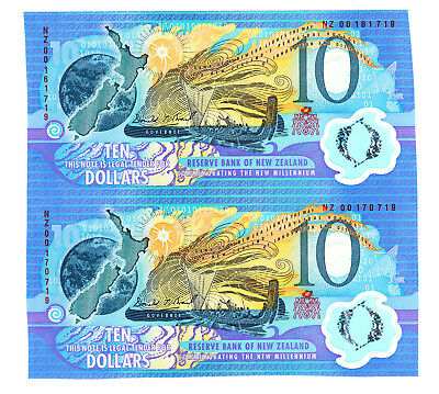 New Zealand NZ Brash $10 Uncut Sheet of 2 UNC Notes . Type III 1990 CS190b