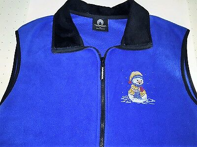 SNOWMAN Fleece Vest Cross Stitch Embroidered Royal Blue~ Snow Day Winter~ 2X