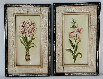Beautiful Pair of Vintage Style Hand Painted Wall Art BOTANICAL Panels