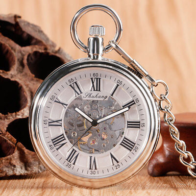 Classic Open Face Pocket Watch Automatic Mechanical Silver Fob Chain Xmas Gift