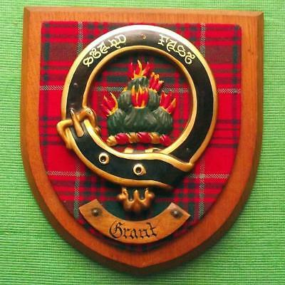 Old Vintage Scottish Hand Carved Oak Clan Grant Tartan Plaque Crest Shield