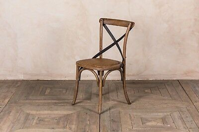 Rustic Oak Kitchen Chair Wooden Bentwood Dining Chair With Metal Cross Back
