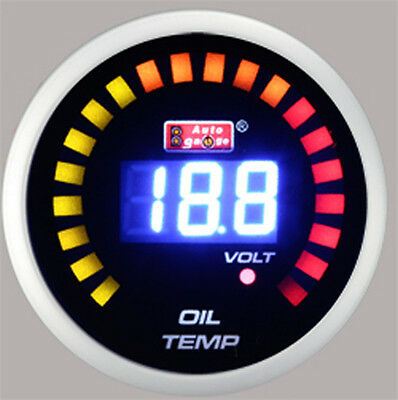 "AutoGauge 2"" 52mm Car Digital LED Oil Temperature Sensor Meter Mount Gauge 12V"