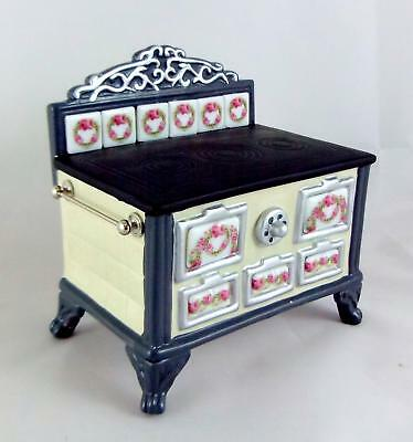 Melody Jane Dolls Houses Porcelain Kitchen Furniture Stove Pink Roseband