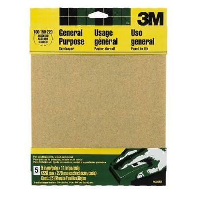 3M 9005NA 9-Inch by 11-Inch Aluminum Oxide Sandpaper, Assorted New