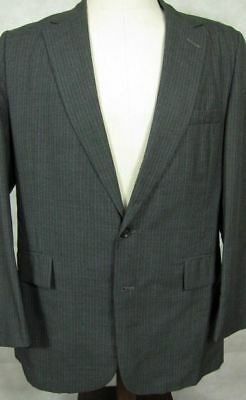 VINTAGE St. Laurie NYC Bespoke Gray Stripe Full Canvas Wool Suit 40R 34x31