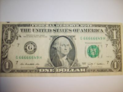 Rare  One Dollar Federal Reserve Note 2009 with serial number containing (6) 6's