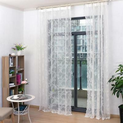 White Floral Lace Tulle Voile Window Curtain Drape Panel Sheer Scarf Divider New