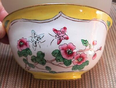 Chinese Enamel Bowl ~ Yellow / Green Floral / Butterfly / Bird ~ Vintage