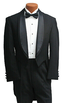 Formal Black Wool Oscar dela Renta Tuxedo Tailcoat Debutante Ball Tails Jacket
