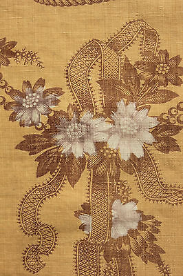 PANEL TWO  Antique French floral ribbon madder gold curtain drape c1850 homespun