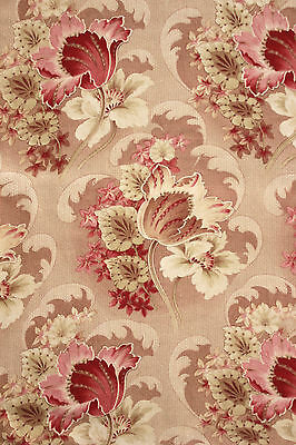Antique French Curtain drape  Art Nouveau fabric Pinks muted tones GORGEOUS