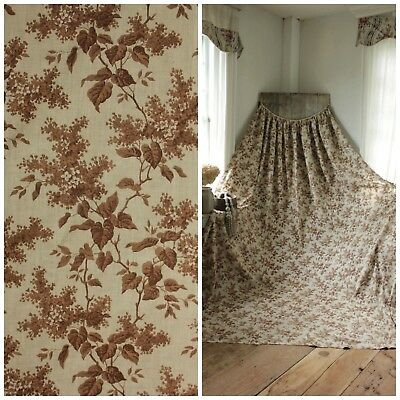 Antique French Curtain brown lilac pattern w/ trim c 1860 old cotton drape