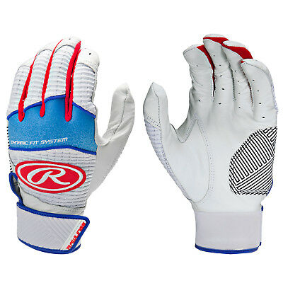 Rawlings Workhorse Adult Baseball/Softball Batting Gloves, Red/White/Blue, Small