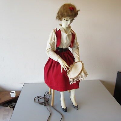 Vintage Electric-Powered Composition Automaton Store Display Embroidering Sewing