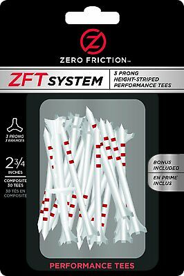"""Zero Friction ZFT System 3-Prong Height Striped Performance Golf Tees 2-3/4"""""""
