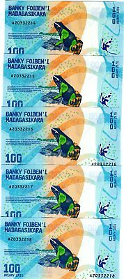 LOT Madagascar, 5 x 100 Ariary, 2017 P-New UNC > Completely Redesigned, Frog