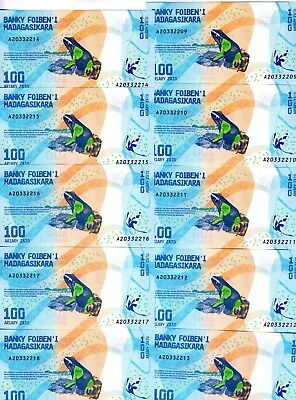 LOT Madagascar, 10 x 100 Ariary, 2017 P-New UNC > Completely Redesigned, Frog